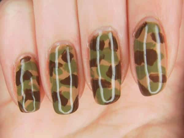 Tan, Green, and Dark Brown Camouflage Nails