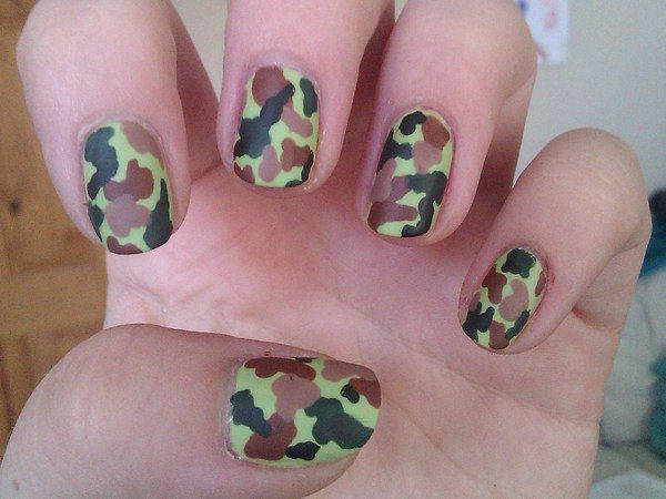 Lime Green, Brown, and Black Camouflage Nails