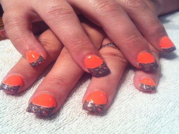 Orange Nails with Camouflage Tips