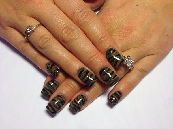 Green, Tan, and Black Camouflage Nails