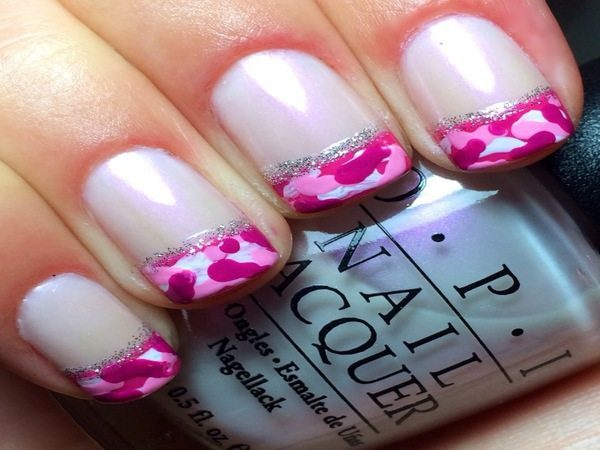 White Nails with Pink Camouflage Nails and Silver Line