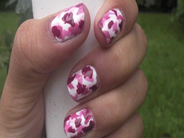 White Nails with Light Pink and Dark Pink Camouflage