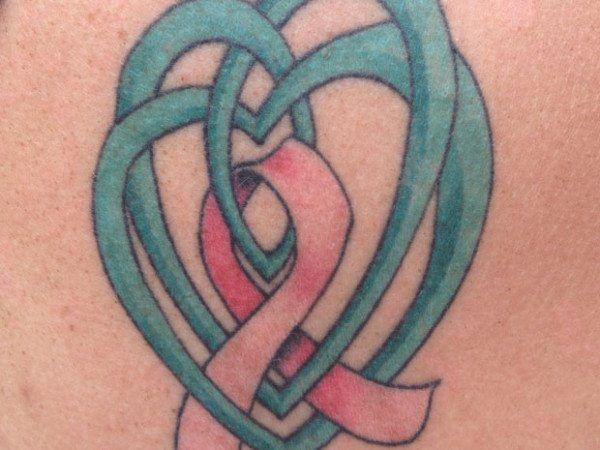 Green Celtic Knot and Heart Tattoo with Pink Breast Cancer Ribbon