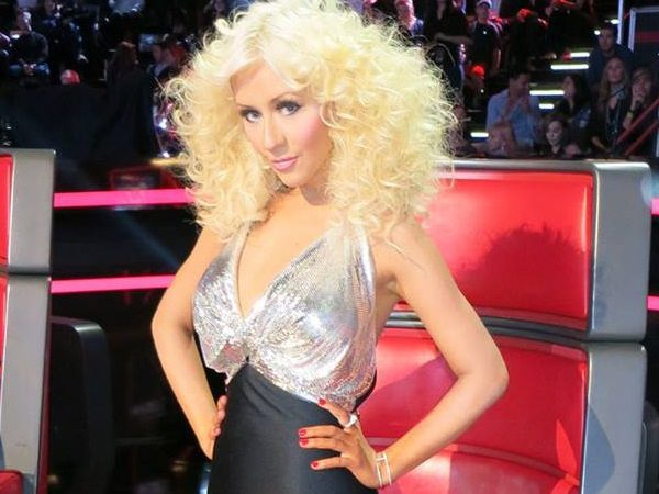 Christina Aguilera with Platinum Blond Puffy Curly Hair