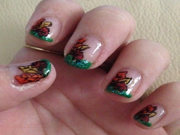 Plain Nails with Green Tips and Red, Yellow, and Orange Leaves