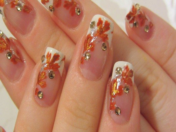 Plain Nails with Orange Leaves and Rhinestones