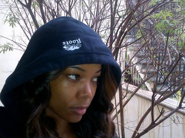Gabrielle Union Wearing Hoodie and Looking Serious