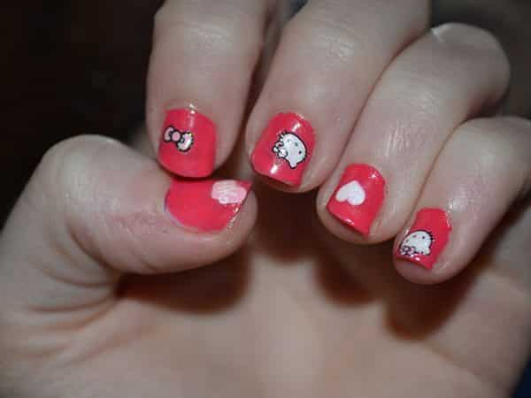 10 beautiful hello kitty nail designs red hello kitty nails with white hearts prinsesfo Choice Image