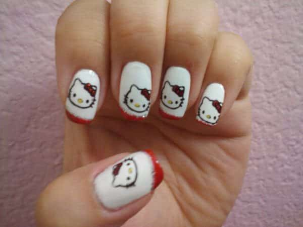 White Nails with Hello Kitty and Red Tips