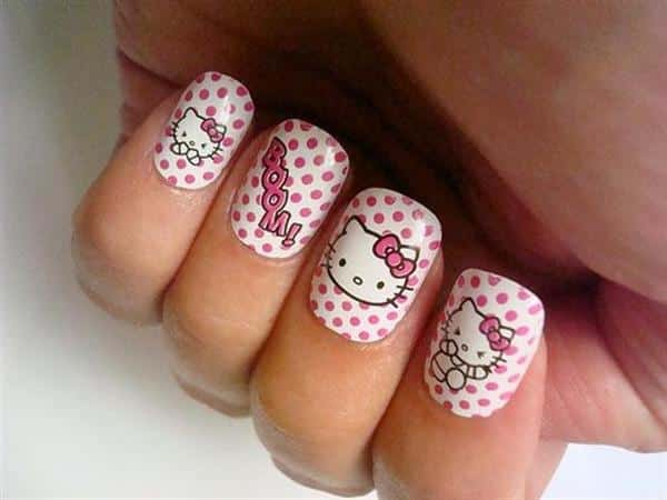 White and Pink Polka Dot Nails with Hello Kitty and the Word Boom