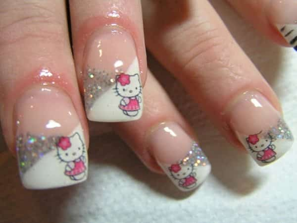 Half White and Half Silver Glitter Nails with Hello Kitty