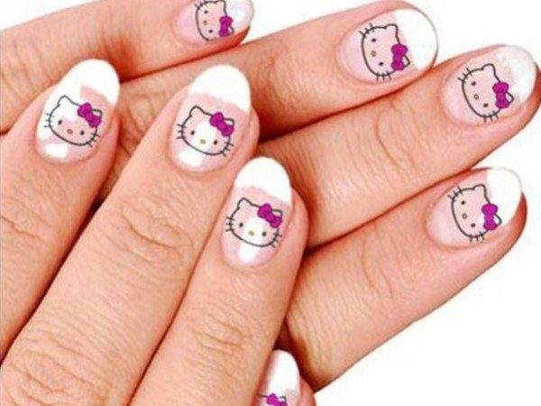 French Manicured Nails with Hello Kitty Decals