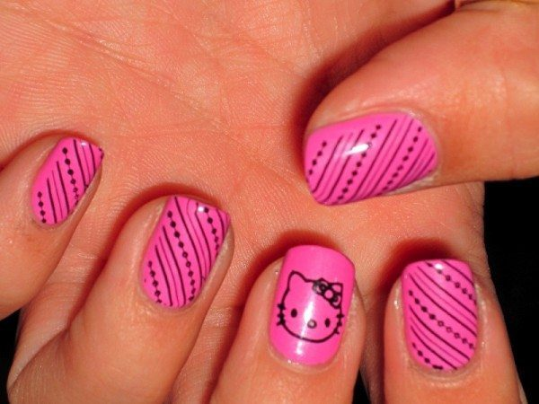 Pink Nails with Hello Kitty and Black Stripes