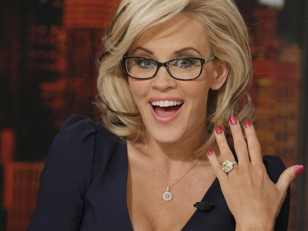 Jenny McCarthy Wearing Glasses and Showing Off Engagement Ring