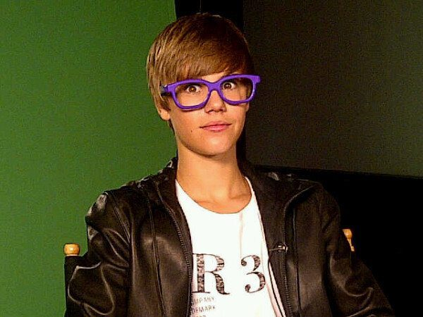 Justin Bieber with Parted Flat Bangs and Glasses