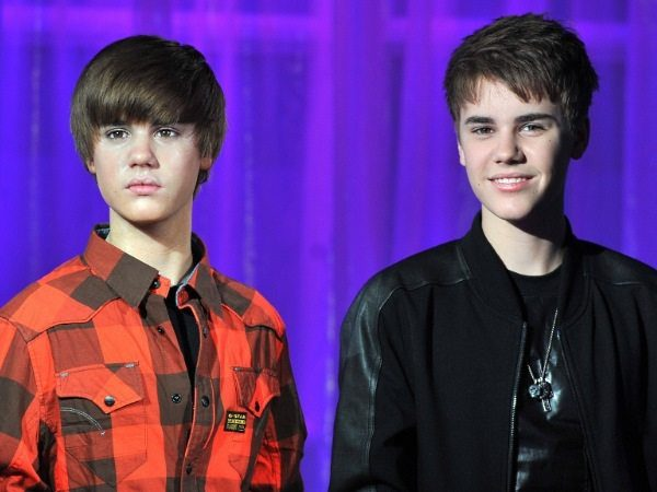 Justin Bieber with Wax Double and Parted Spiky Hair