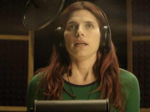 Lake Bell In the Studio Recording Wearing a Green Shirt