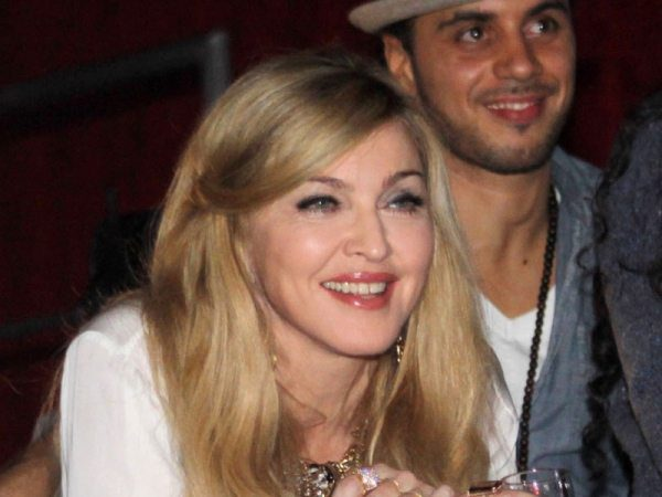 Madonna Smiling with Straight Shoulder Length Blond Hair