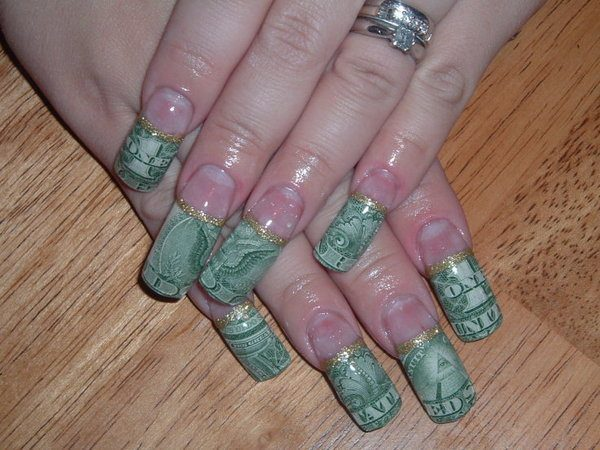 One Dollar Nail Tips with Gold Lines