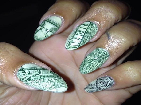10 magnificent money nail art designs pointed tipped one dollar bill nails prinsesfo Gallery