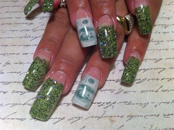 Green Glitter Nail Tips and One Hundred Dollar Bill Tips with Ben Franklin