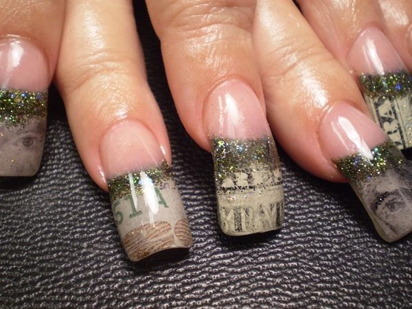Money Tipped Nails with Glitter
