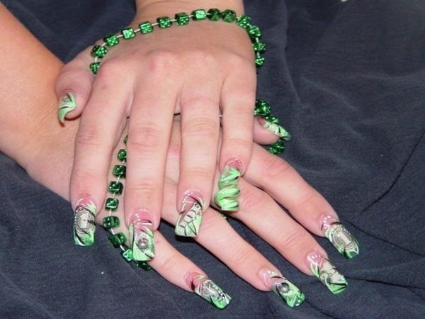 Money Nails with Green Curly-Q Tips and Green Polish
