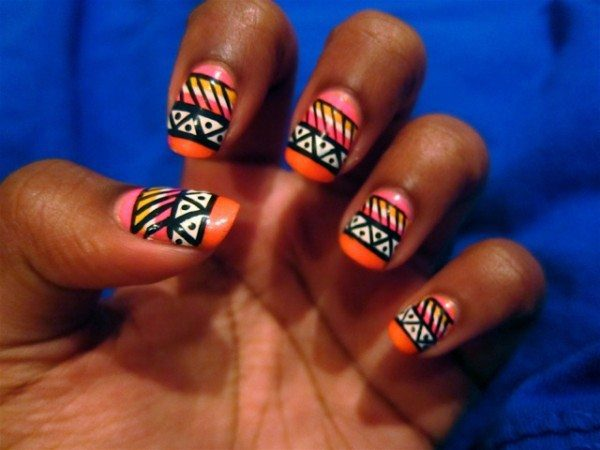 Orange, Yellow, and Pink with Black Aztec Print Nails