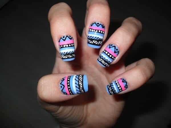 Blue, Pink, and White with Black Aztec Print Nails