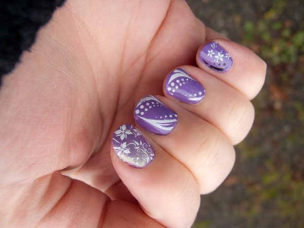 Purple Nails with White Dots, White Flowers, and White Curved Lines