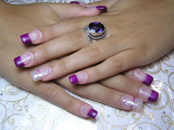 Plain Nails with Purple Tips, and Two Nails with Single Purple Stripe