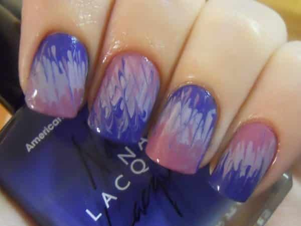 Purple, Pink, and White Tie Dye Nails