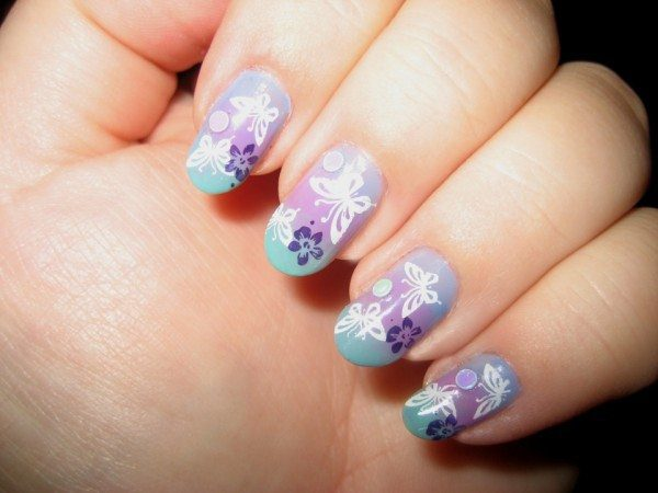Purple Nails with Blue Tips, White Butterflies, and Blue Flowers