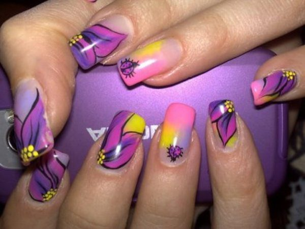 Purple Pink And Yellow Nails With Flowers Lady Bugs