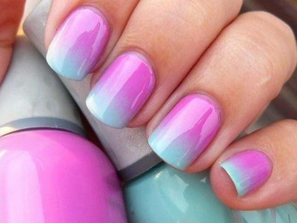 Purple and Light Blue Nails