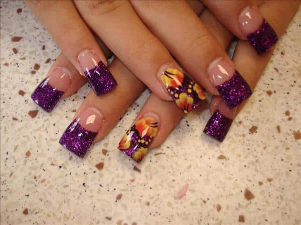 Dark Purple Glitter Tips with One Nail Decorated with Yellow Flowers