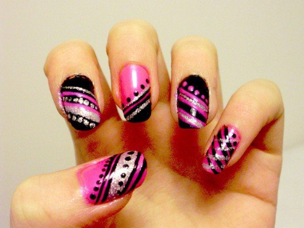 Pink, Purple, Black, and Silver Nails with Dots and Angular Stripes