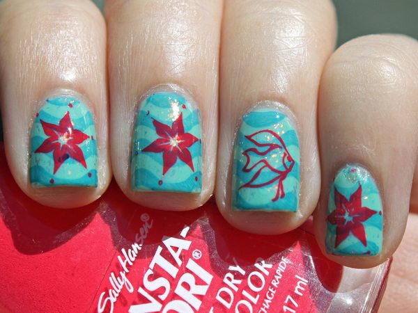 Sky Blue Nails with Darker Blue Strips, Red Fish, Dots, and Starfish