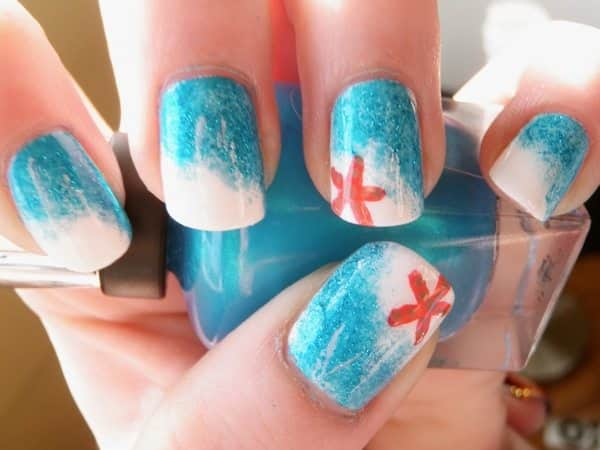 Ocean Blue Nails with White Tips and Orange Starfish - 12 Stunning Starfish Nail Designs