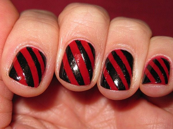 Red and Black Angle Striped Nails