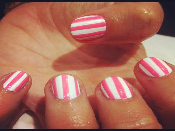 Pink and White Striped Nails