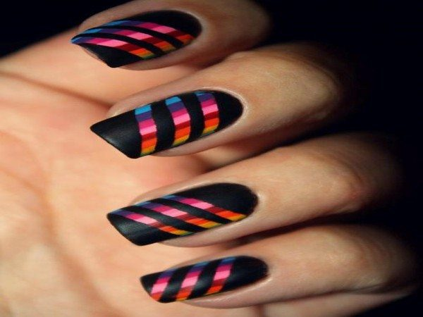 Black Nails with Rainbow Stripes