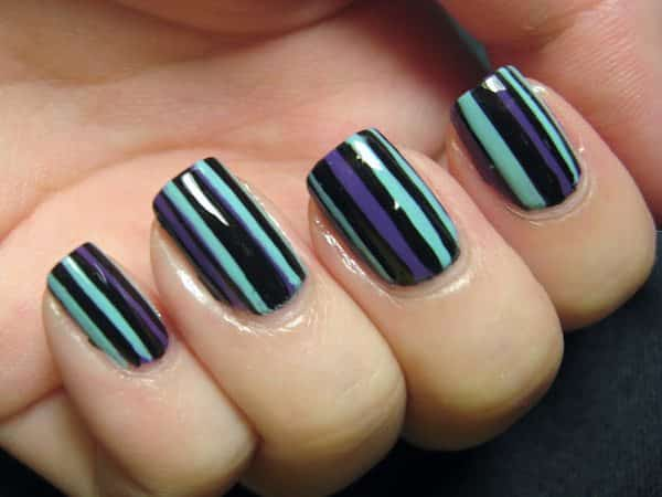 Black Nails with Purple and Light Blue Stripes