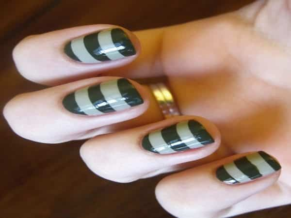 Black and Olive Green Striped Nails
