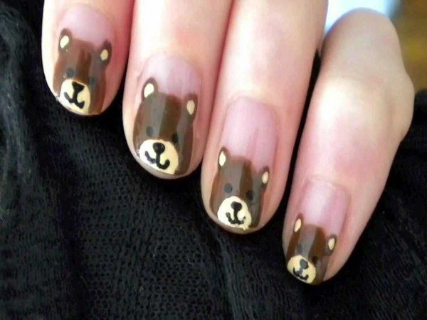 Plain Nails with Brown Bears