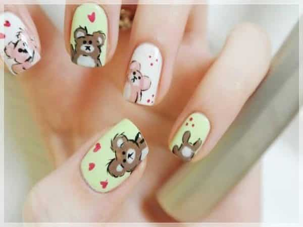 White Nails with Brown Bears and Red Hearts