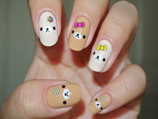 Brown Nails and White Nails with Bears, Ribbons, and White Flowers