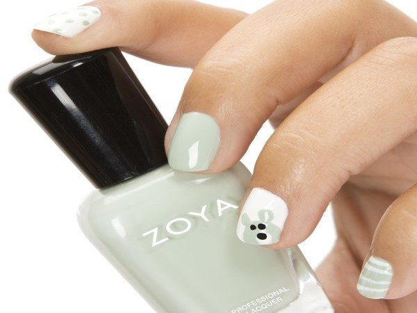 Grey and White nails with Grey Bear Design