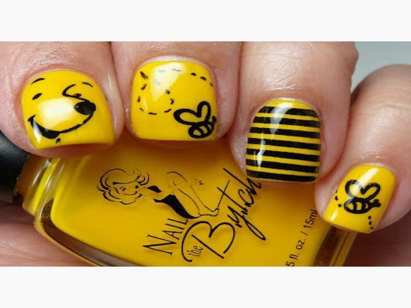Yellow Pooh Nails with Bee Stripes and Honey Bees