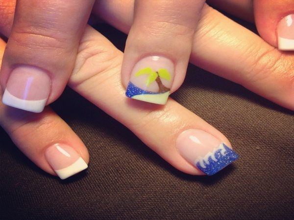 Plain Nails with Tropical Island Nail and One Wave Nail Tip